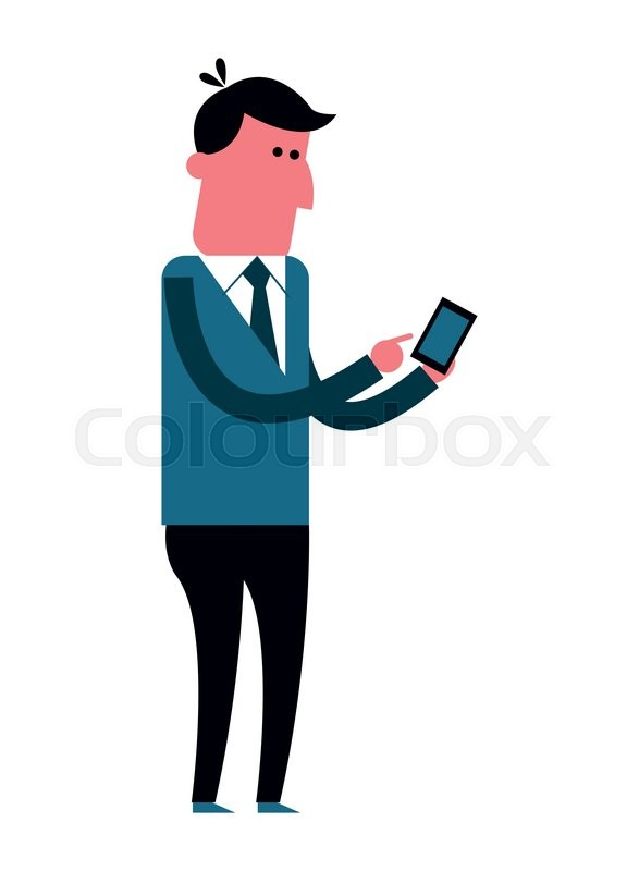 587x800 Flat Design Man Using Cellphone Icon Vector Illustration Stock