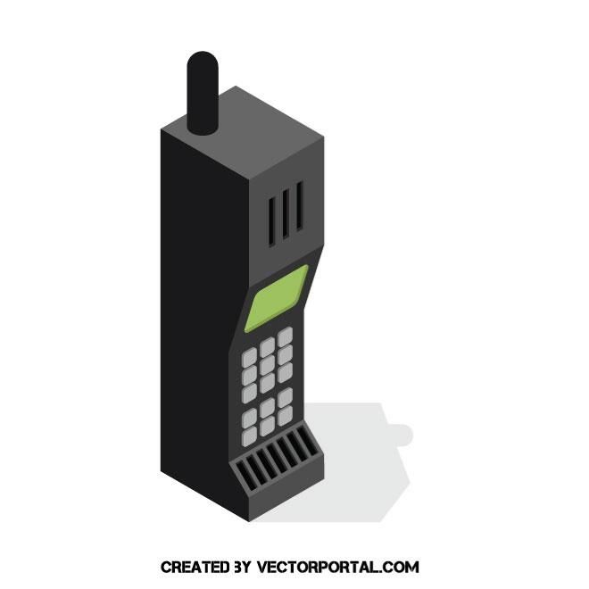 660x660 Vintage Cell Phone Vector Image Technology Vector Illustrations