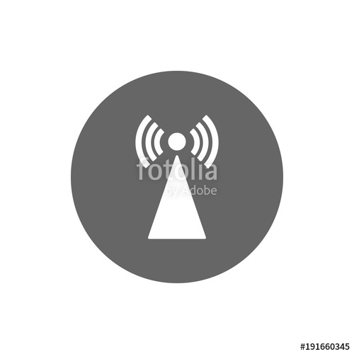 500x500 Cell Tower Icon In Circle. Vector. Stock Image And Royalty Free