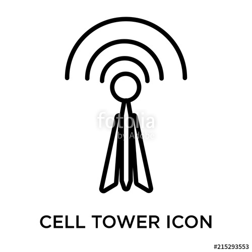 500x500 Cell Tower Icon Vector Sign And Symbol Isolated On White
