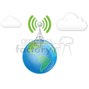 300x300 Royalty Free Cell Tower Earth Clouds 383899 Vector Clip Art Image
