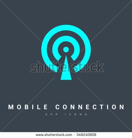 450x470 Cell Phone Tower. Wireless Icon. Mobile Connection Line Vector