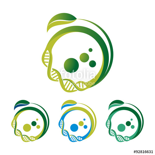 500x500 Green Cell Dna Vector Logo Template Stock Image And Royalty Free
