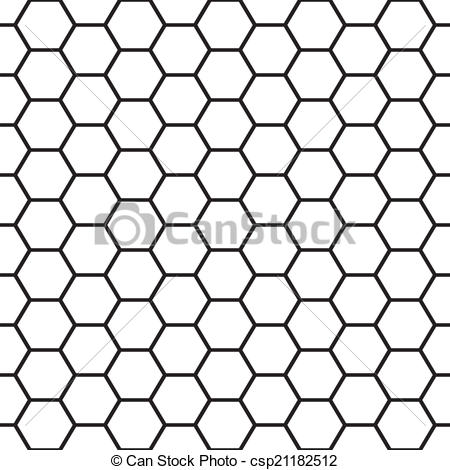 450x470 Black And White Bee Cells Seamless Vector Pattern.