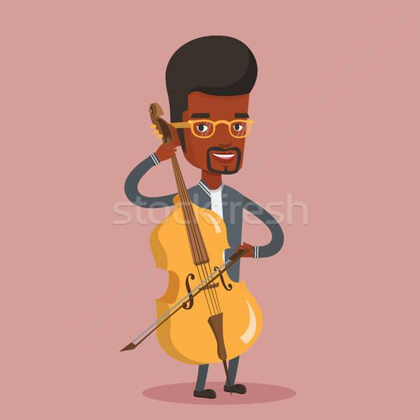 600x600 Man Playing Cello Vector Illustration. Vector Illustration