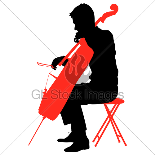 500x500 Silhouettes A Musician Playing The Cello. Vector Illustra... Gl