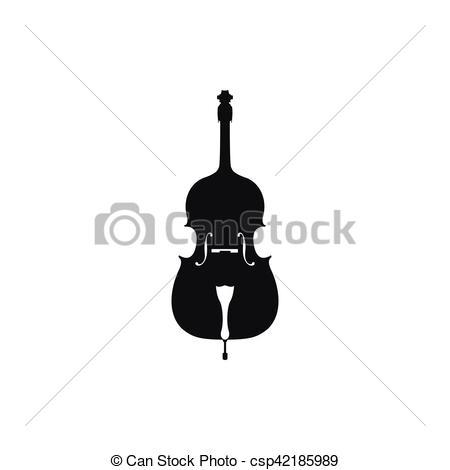 450x470 Vector Illustration Of Acoustic Cello. Cello In Black