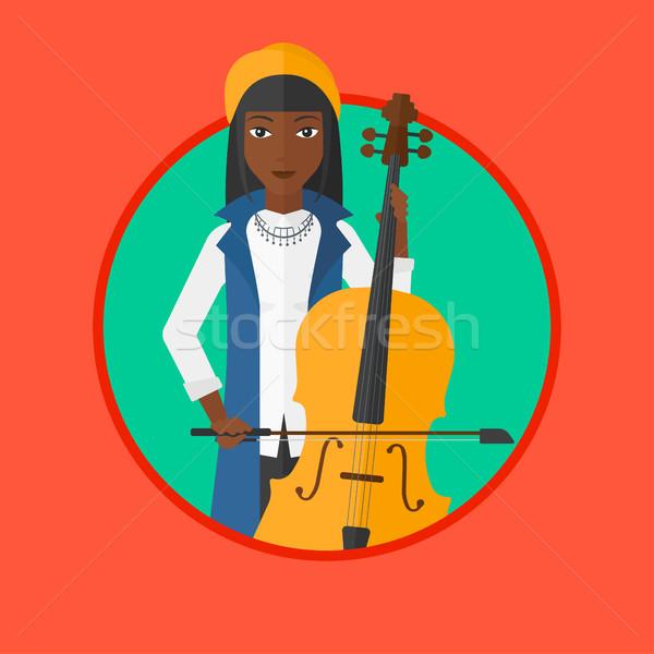 600x600 Woman Playing Cello Vector Illustration. Vector Illustration