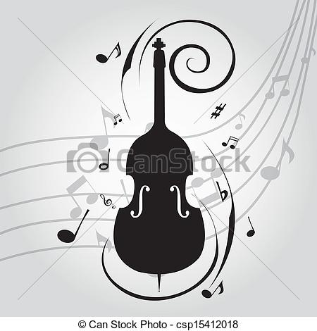 450x470 Abstract Cello Silhouette On Special Music Background Vector Clip