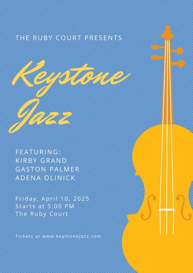 389x550 Blue And Yellow Cello Vector Jazz Event Poster