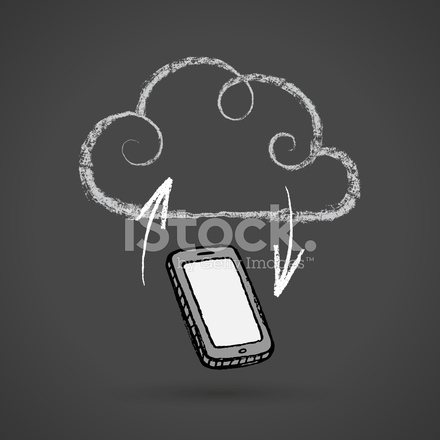 440x440 Cloud Computing Concept With Cellphone Vector Chalkboard Drawing