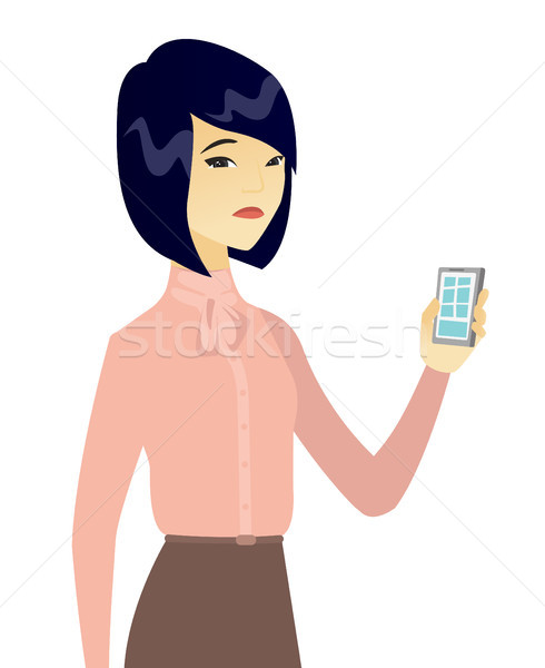 490x600 Disappointed Asian Business Woman With Cellphone. Vector