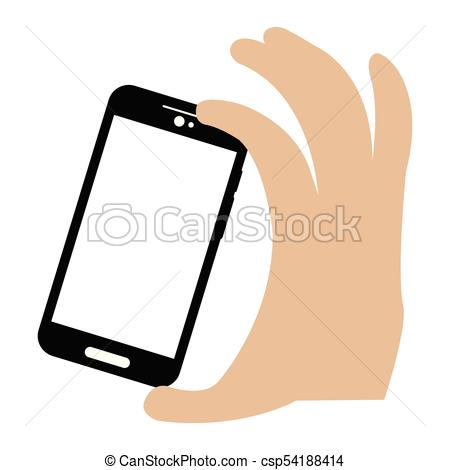 450x470 Hand Holding A Cellphone. Selfie Icon. Vector Illustration Design.