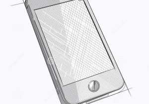 300x210 Sketch Of A Cellphone Cell Phone Sketch Royalty Free Vector Image