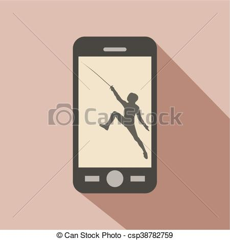 450x470 Watch Sports On Cellphone. Silhouette With The Sword Practicing In