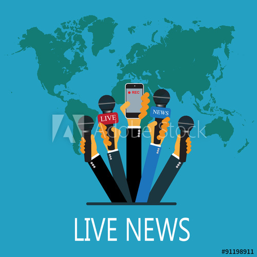 500x500 Vector Live Report Concept, Live News, Hands Of Journalists With