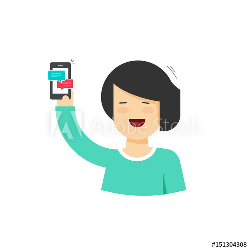 500x500 Cartoon Happy Smiling Woman Holding Smartphone With Chatting