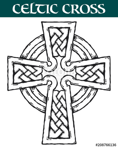 400x500 Celtic Cross. Vector Image Of An Ornate Celtic Cross For Use In