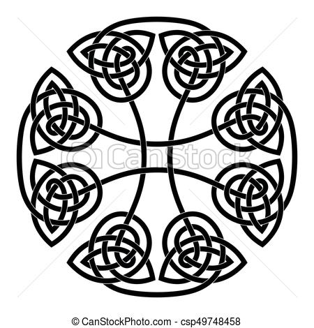450x470 Celtic National Cross. Celtic Cross. National Ornament Isolated On