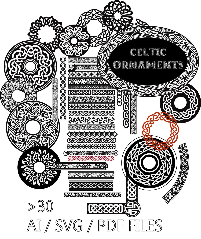 1261x1500 Celtic Ornaments Borders Vector Files Instant Download Eps Ai Etsy