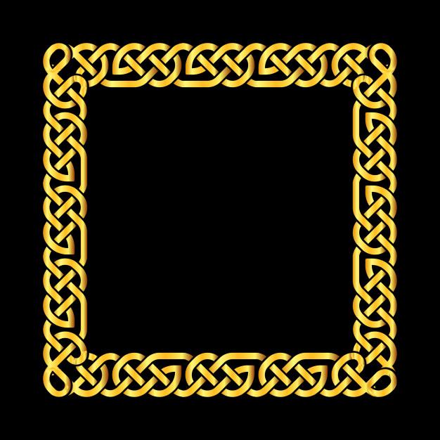 626x626 Square Golden Celtic Knots Vector Frame Vector Premium Download