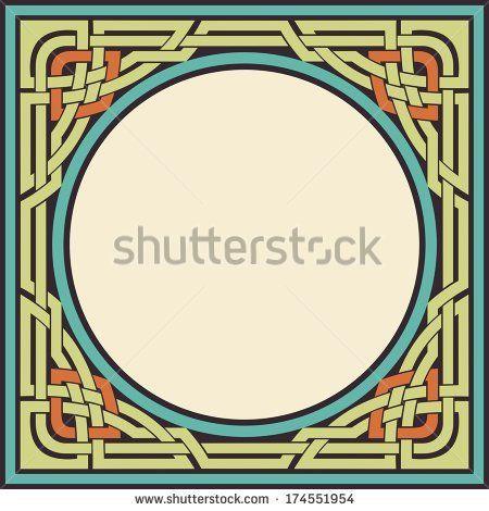 450x470 Vector Colored Ornamental Celtic Frame Borders