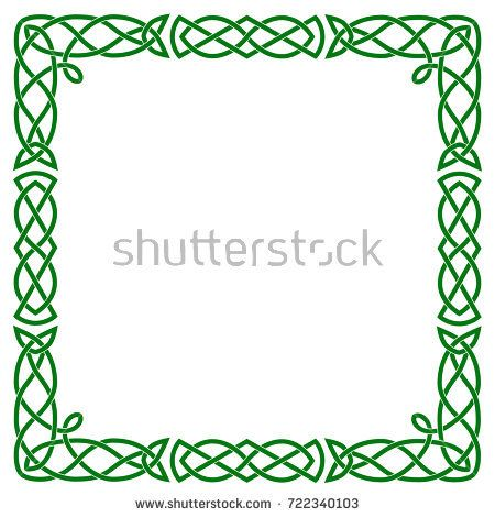 450x470 A Square Celtic Frame. Isolated Vector Green Image On White