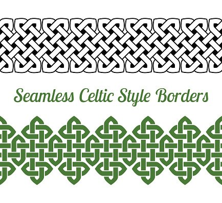 434x398 2 Celtic Style Knot Seamless Borders, Vector Illustration Stock