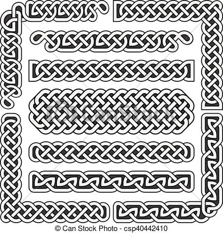450x470 Celtic Knots Vector Medieval Seamless Borders, Patterns, And
