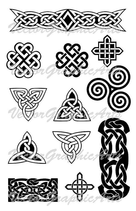 570x883 Celtic Knots Vector Celtic Ornament Set Of 12 Pieces Ornament For