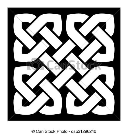 450x470 Celtic Knot Vector Illustration (Pointed Corners, Black And White