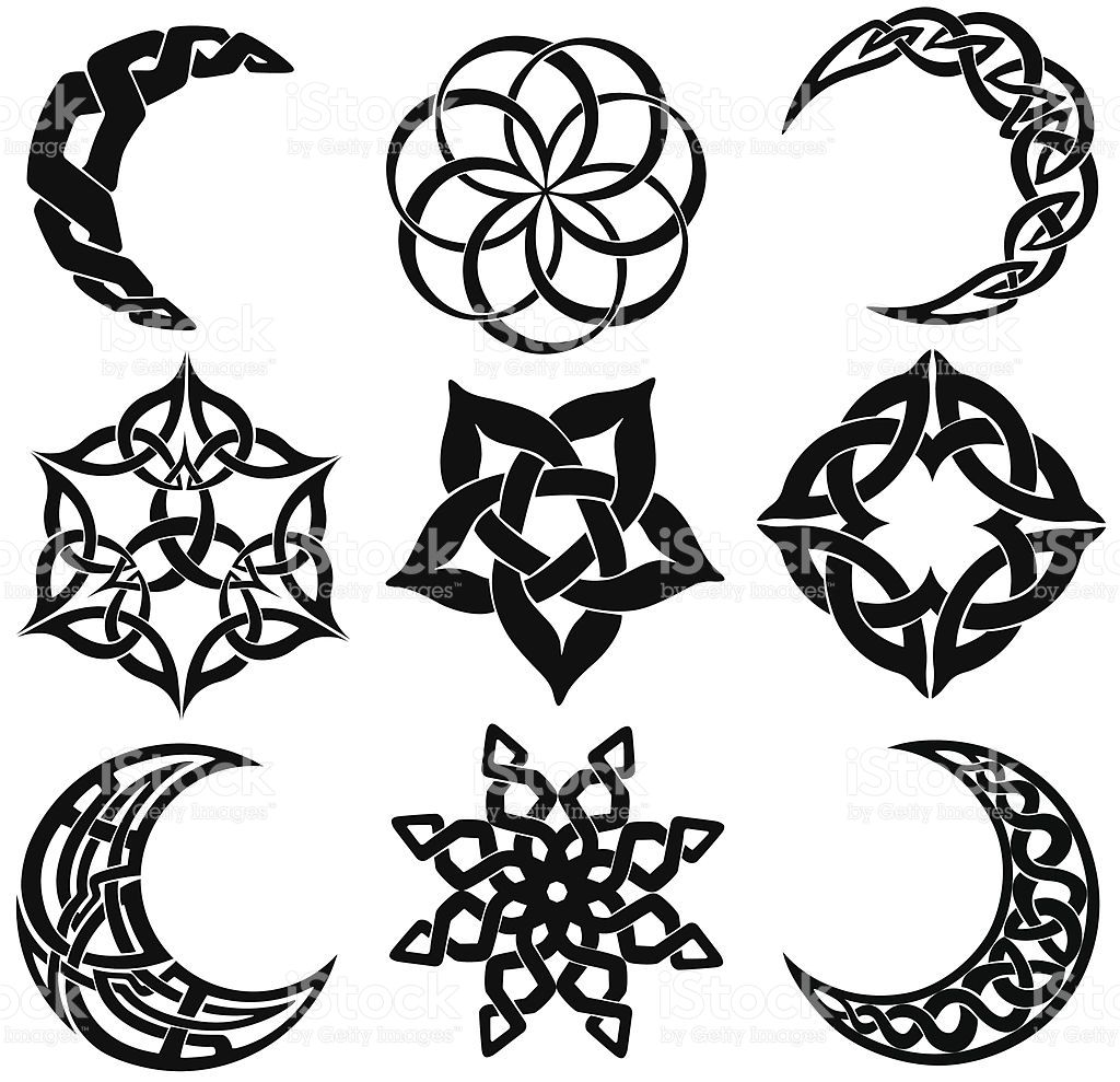 1024x989 Vector Celtic Knot Moons And Star Shapes. Ornamenty