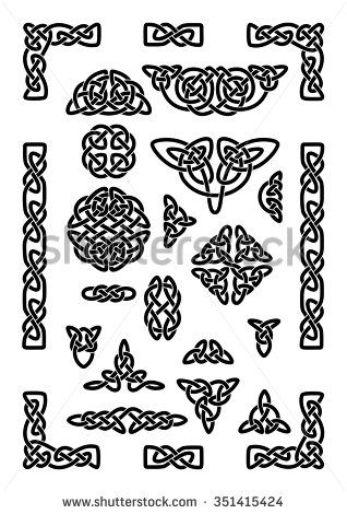 318x470 Collection Of Various Celtic Knots, Goidelic Frames, Vector