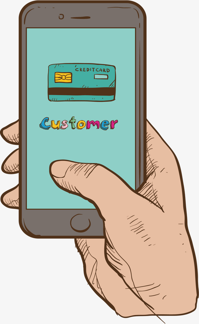 650x1058 Mobile Payment Shopping, Vector Png, Hand Drawn Wind, Cell Phone