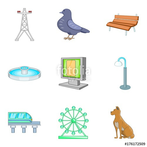 500x500 Central Park Icons Set, Cartoon Style Stock Image And Royalty