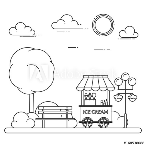 500x500 City Landscape With Bench, Ice Cream Truck In Central Park. Vector