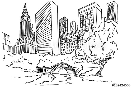 500x334 Hand Drawn Sketch Of Central Park In New York City.