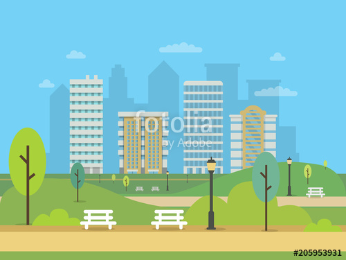 500x375 Urban Landscape With Various Buildings And Green Central Park