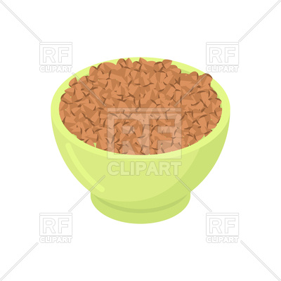400x400 Bowl Of Buckwheat Cereal Isolated Vector Image Vector Artwork Of