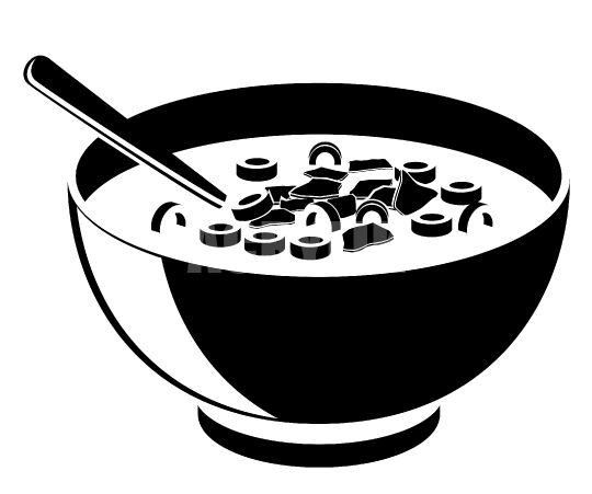 540x451 Bowl Of Cereal In Black Vector Icon