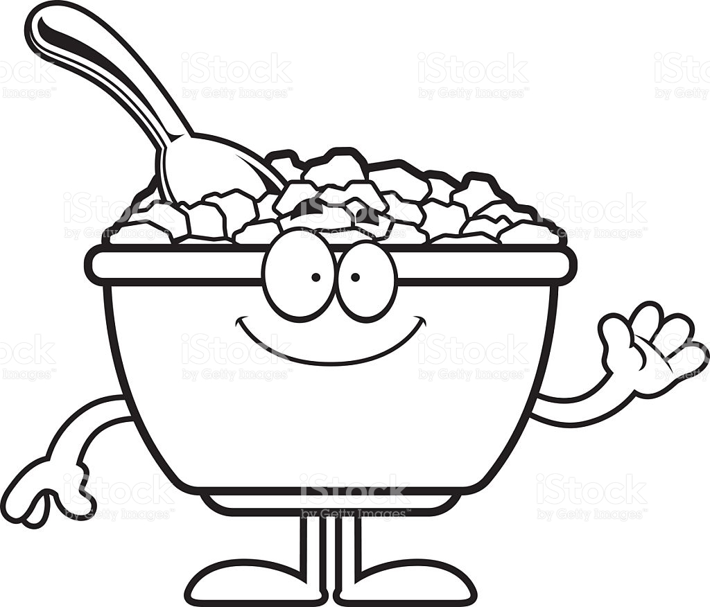 1024x876 Cartoon Drawing Of A Bowl Of Cereal Stock Vector Prawny
