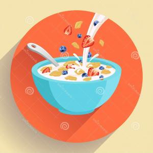 300x300 Stock Illustration Vector Breakfast Cereal In Bowl Orangiausa