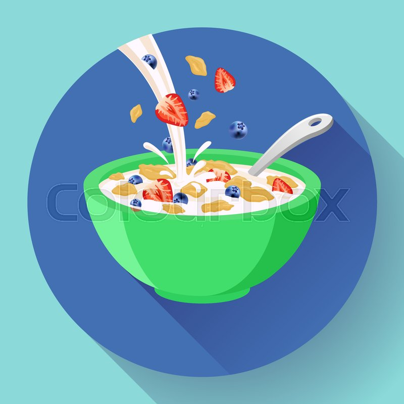 800x800 Vector Breakfast Cereal In Bowl Filled With Milk And Berries, Flat