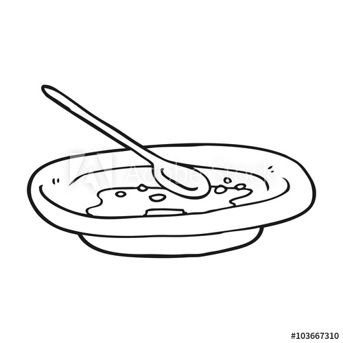 500x500 Black And White Cartoon Empty Cereal Bowl