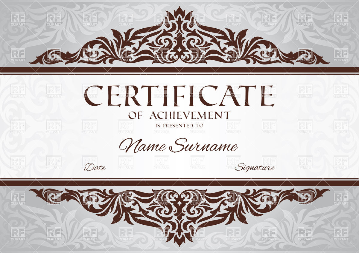 1200x848 Certificate Of Achievement Template With Floral Vintage Frame
