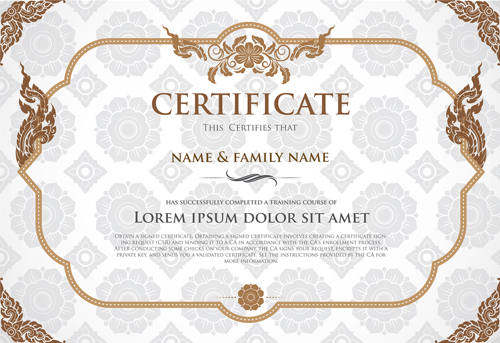 500x343 Certificate Template With Retro Frame Vector 02 Free Download