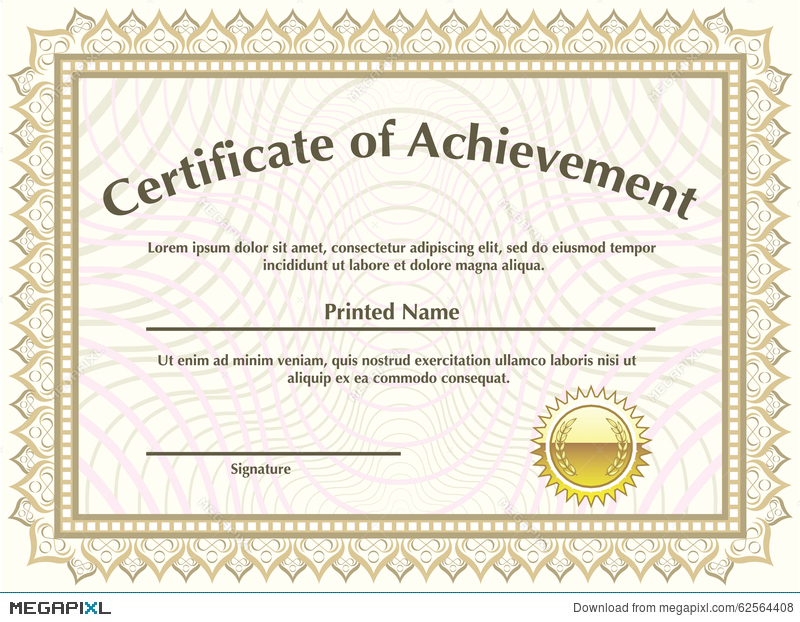 800x622 Certificate With Golden Seal Vector Illustration 62564408