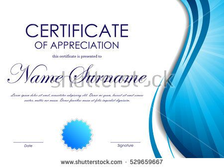 450x338 Certificate Of Appreciation Template With Blue Dynamic Wavy Vortex