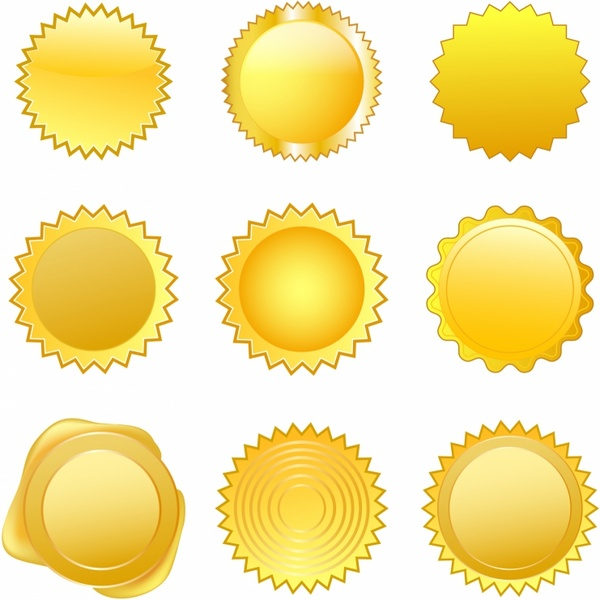 600x600 Gold Seals Free Vector In Adobe Illustrator Ai ( .ai