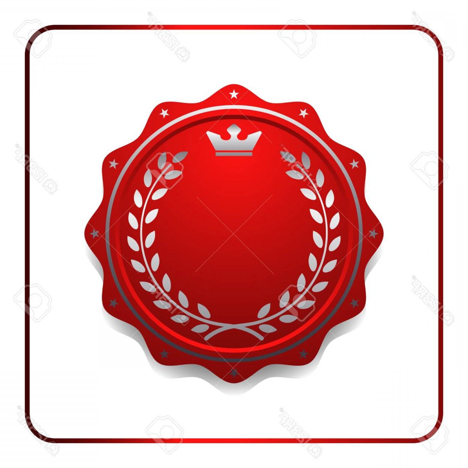 1560x1560 Photostock Vector Seal Award Red Icon Blank Medal With Laurel